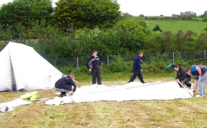 setting up the tents in Wales
