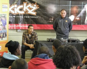 Rio answers questions from young people at the kickz event