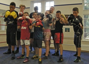 Leon and Terry with the young boxers