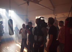 Clench, by Riffat Ahmed, being filmed in the boxing gym