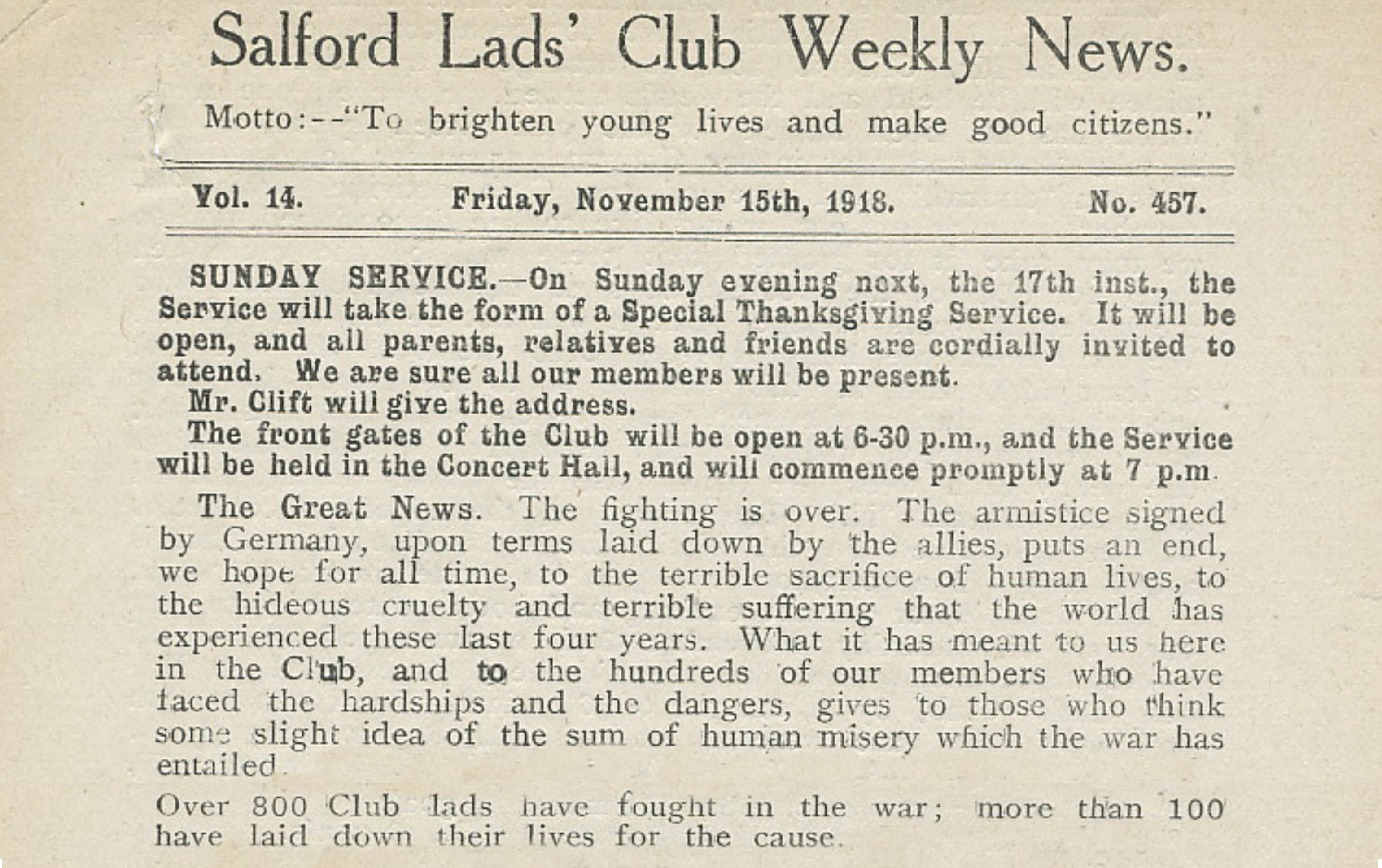 End of WW1 at Salford Lads Club